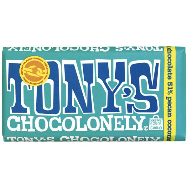 Tony's Chocolonely - 61% Dark Chocolate Pecan Coconut - 6.35oz Bar