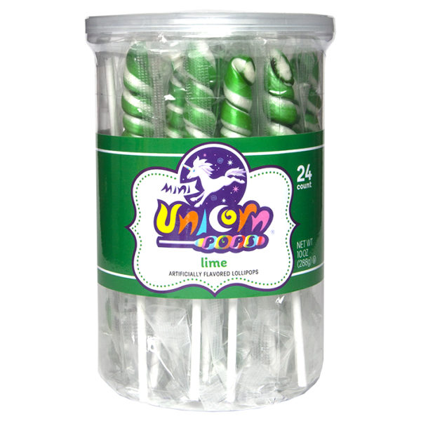 Mini Unicorn Pops - Lime Green - 24 Count Tub